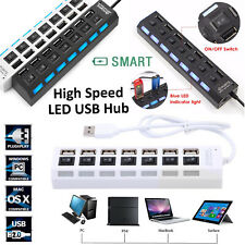 LED High Speed USB 2.0 Hub 7 Ports ON/OFF Switch For PC, MAC, PS3, XBOX, TABLET