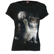 Spiral Direct - WOLF PUPPY - BOATNECK CAP SLEEVE TOP BLACK