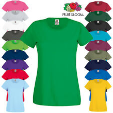 Fruit of the Loom Women's Short Sleeve Rib Crew Neck T-Shirt Ladies Fit Top New