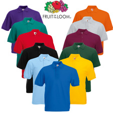 Fruit of the Loom MEN'S POLO SHIRT SHORT SLEEVE PLAIN GOLF T-SHIRT COLLAR S-5XL