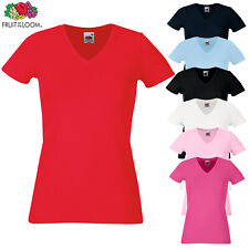 Fruit Of The Loom LADIES T-SHIRT V-NECK LADY FIT COTTON ELASTANE PREMIUM XS-2XL