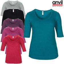 Anvil Womens Tri Blend Scoop Neck 3/4 Sleeve T-Shirt Plain Ladies Casual Top New