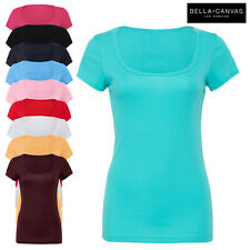 Bella+Canvas Ladies Scoop Neck Short Sleeve Stretch Fit T-Shirt Plain Casual New