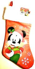 "Stocking Mickey Mouse Red White Disney Christmas Soft White Plush 17"" Long New"