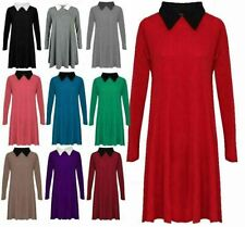 Womens Peter Pan Collar Skater Flared Swing Dress Ladies Long Sleeve Party Dress