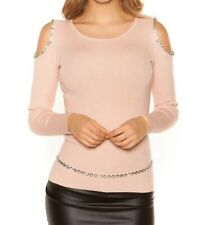 Womens Sexy Cold shoulder sweater with Rhinestones one size now £18 pink grey