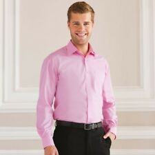 Russell Collection Mens Long Sleeve Cotton Easy Care Poplin Smart Work Shirt New