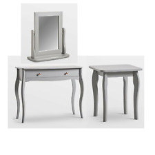 Grey/Rose Gold Women's Makeup Vanity Dressing Table with Drawer Mirror Stool New