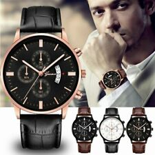 Geneva Mens Watch Date Stainless Steel Leather Analog Alloy Quartz Wrist Watch
