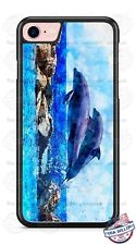 Two Dolphins Jumping Art Design Phone Case fits iPhone Samsung LG Google HTC etc