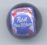 Pabst Blue Ribbon Beer Advertising Black Glass Marble