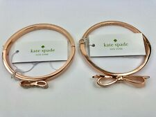 New Kate Spade Love Notes / Ready Set Bow Rose Gold Bangle Bracelet W/ Pouch