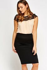 Womens Party Nude Black Lace Sheer Blouse Cap Sleeve Crew Neck Pleated Tops 16