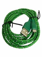 Green USB Braided Micro Cable Sync Charger Data Lead For Andriod Mobile Phones