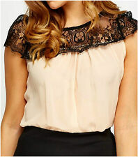 Womens Loose Nude Black Lace Trim Sheer Blouse Cap Sleeve Crew Neck Pleated Top