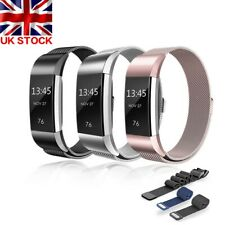 UK Replacement Magnet Watch Strap Wrist Band Metal Buckle For FitBit Charge 2