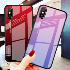 For iPhone XS Max XR X 6s 7 8 Plus Case Gradient Tempered Glass Armor Cover Skin