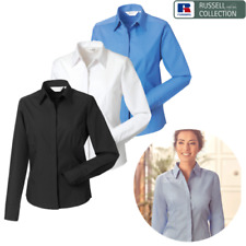 RUSSELL COLLECTION SHIRT LONG SLEEVE COLLAR SMART WORK OFFICE EASY CARE LADIES
