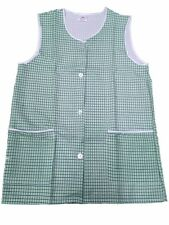 NEW LADIES SIZES 8-28 CHECK PRINT BUTTON FRONT TWO POCKET OVERALL TABARD APRON