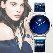 Fashion Brand Women Wrist Watches Super Slim Blue Mesh Stainless Steel Watches