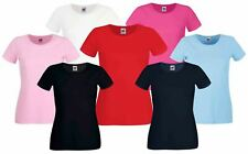 Fruit Of The Loom LADY FIT CREW NECK T-SHIRT TEE TOP COTTON PLAIN COMFORT XS-2XL