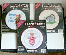 BRAND NEW Learn A Craft Needlepoint Or Stamped Cross Stitch Kits w/Hoop YOU PICK