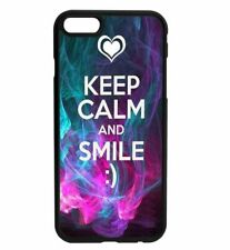 KEEP CALM and SMILe Rubber Hard Back Case for iPhone Samsung D26