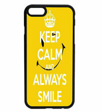 KEEP CALM and SMILE Rubber Hard Back Case for iPhone Samsung D13