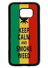 KEEP CALM and Smoke Weed Rubber Hard Back Case for iPhone Samsung D27