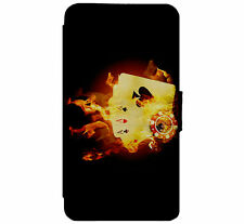 Poker - Aces - On Fire Leather Flip Phone Case for iPhone & Samsung D42