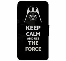 KEEP CALM Darth Vader Star Wars Leather Flip Case Cover D12 for iPhone & Samsung