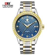 TEVISE Luxury Brand Men's Stainless Automatic Mechanical Watches Rhinestone Dial