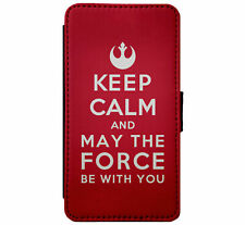 KEEP CALM May The force Leather Flip Phone Case Cover for iPhone & Samsung D4