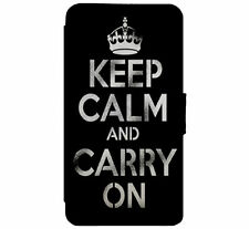 KEEP CALM & Carry ON Leather Flip Phone Case Cover for iPhone & Samsung D19