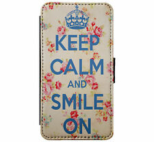 KEEP CALM and Smile Leather Flip Phone Case Cover for iPhone & Samsung D25