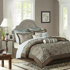 Madison Park Aubrey Queen Size Bed Comforter Set Bed In A Bag - Blue, Brown , Pa