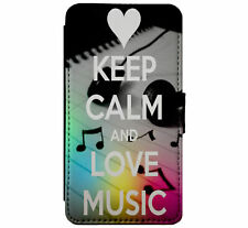 KEEP CALM and Love Music Leather Flip Phone Case Cover for iPhone & Samsung D22