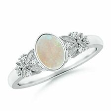 Vintage Style Oval Natural Opal Ring with Diamonds Gold/Platinum Size 3-13