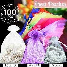 Organza Wedding pouches Bags Candy Gift 100 Pieces Jewelry small-large Packets