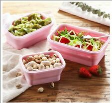 Box Food Silicone Lunch Container Collapsible Storage Folding Portable 4pcs