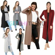 Womens Long Cardigan Ladies Lightweight Jersey Long Sleeve Open Basic Cardi New