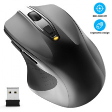 WisFox - Mouse Wireless 2,4 G, ergonomico, 6 Tasti, per PC Portatile, USB, con N