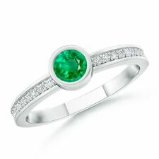 Bezel Round Natural Emerald Stackable Ring with Diamond Accents 14k Gold