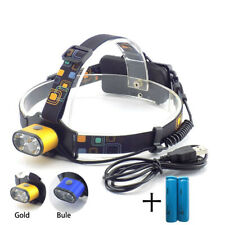 Dual T6 LED Headlamp USB Rechargeable Head Torch Lamp Light Flashlight Camping