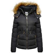 NEW WOMENS LADIES QUILTED WINTER COAT PUFFER FUR COLLAR HOODED JACKET PLUS SIZE