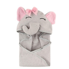 Hudson Baby Unisex Animal Face Hooded Towel, Pretty Elephant 1-Pack, One Size