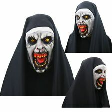 Horror Scary Nun Latex Mask /Headscarf Valak Cosplay for Halloween Costume Props