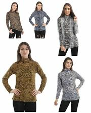 New Womens Leopard Print Long Sleeve Turtle Polo Neck T-shirt Jersey Top Uk 8-26