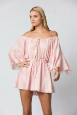 Womens Stripe Bell Sleeves Off Shoulder Keyhole Neck Tie At Bust Coral Romper