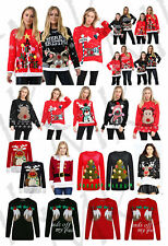 Women's Merry Christmas Reindeer Xmas Tree 3D Lights Reindeer Santa Jumper 8-24
